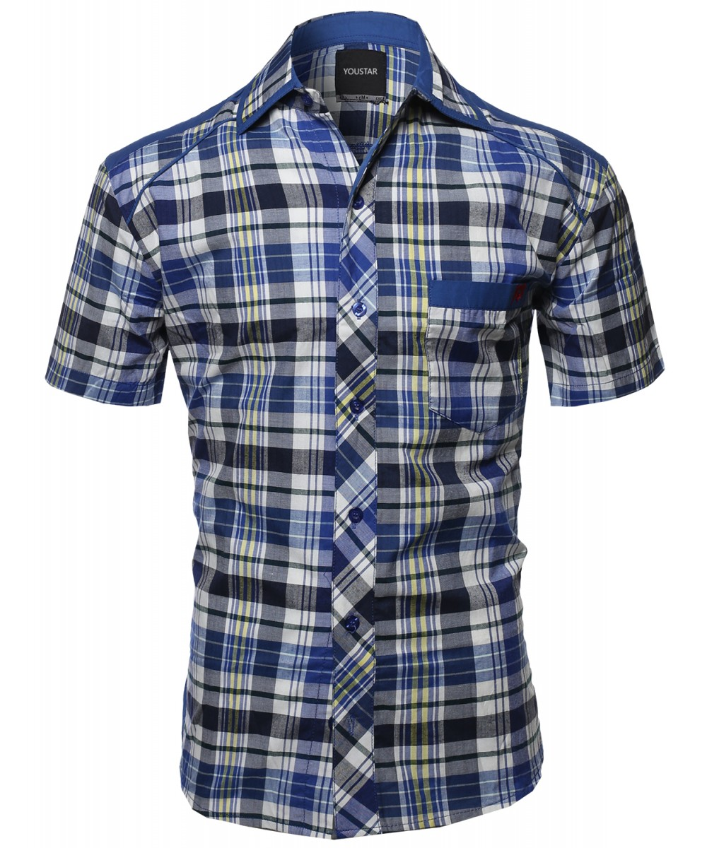 Men 39 s casual short sleeve cotton plaid checkered button Short sleeve plaid shirts