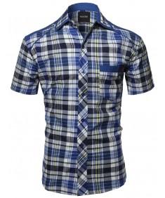 Men's Short Sleeve Checkered Button Down Shirt