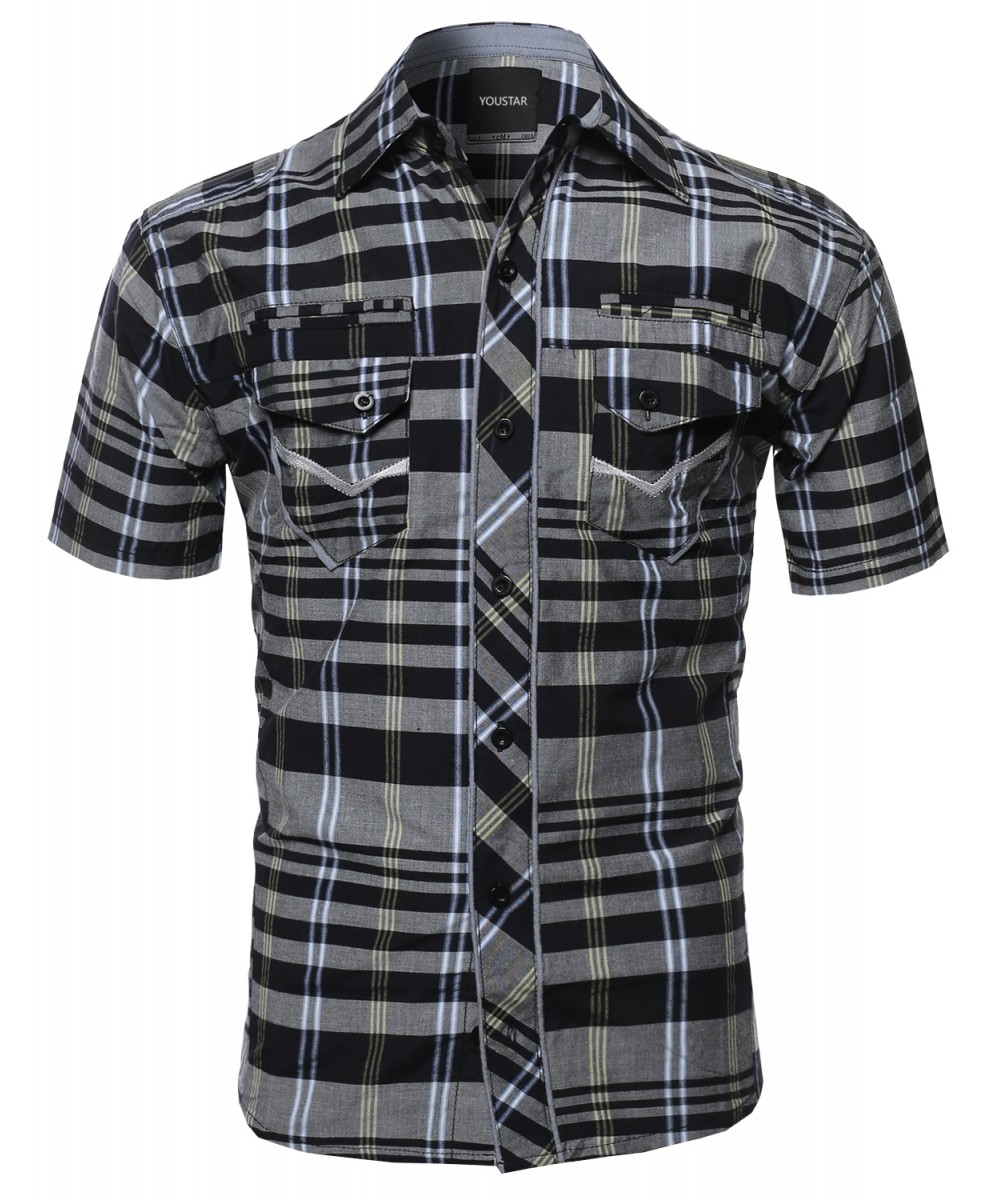 men 39 s casual short sleeve cotton plaid checkered button