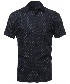 Men's Small Diamond Dot Patterned Button Down Short Sleeves Shirt