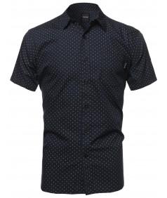 Men's Small Diamond Dot Patterned Button Down Short Sleeves Shirt