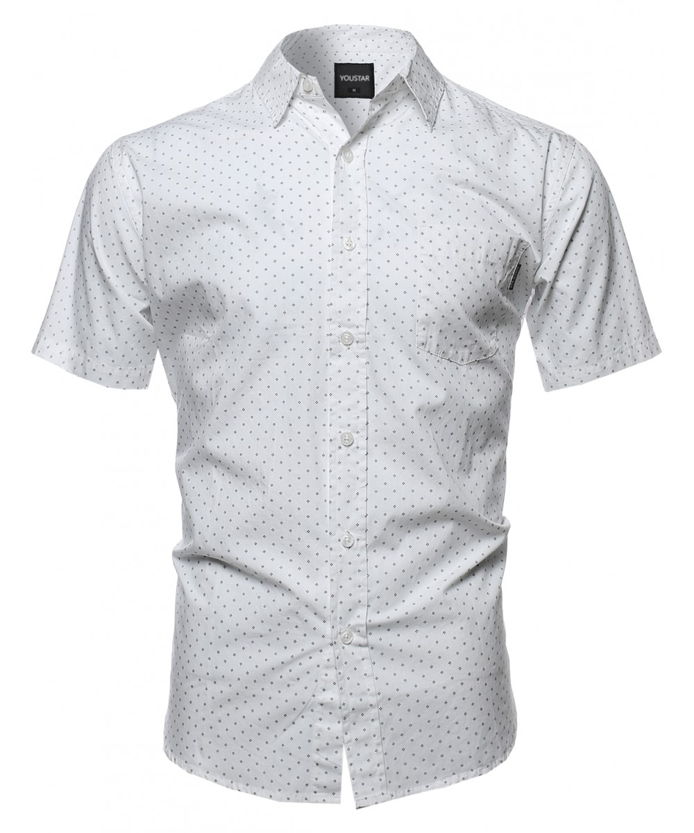 Men's Classic Polka Dot Patterned Short Sleeve Button Down Shirt ...