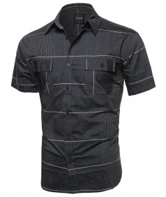 Men's Multi Stripe Button Down Short Sleeve Shirt