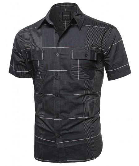 Men's Multi Stripe Button Down Short Sleeve Shirt