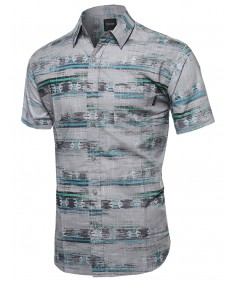 Men's Faded Aztec Button Down Short Sleeve Shirt