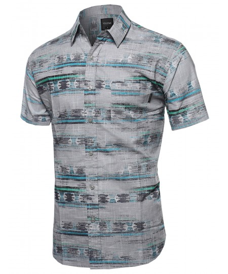 Men's Faded Aztec Button Down Short Sleeve Shirt