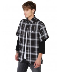 Men's Short Sleeve Plaid Button Up Shirt