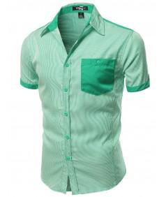 Men's Color Contrast Vertical Striped Short Sleeve Shirts