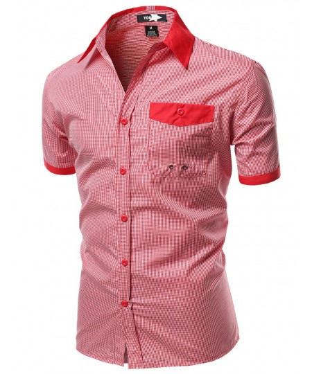 Men's Color Contrast Collar Striped Short Sleeve Shirts