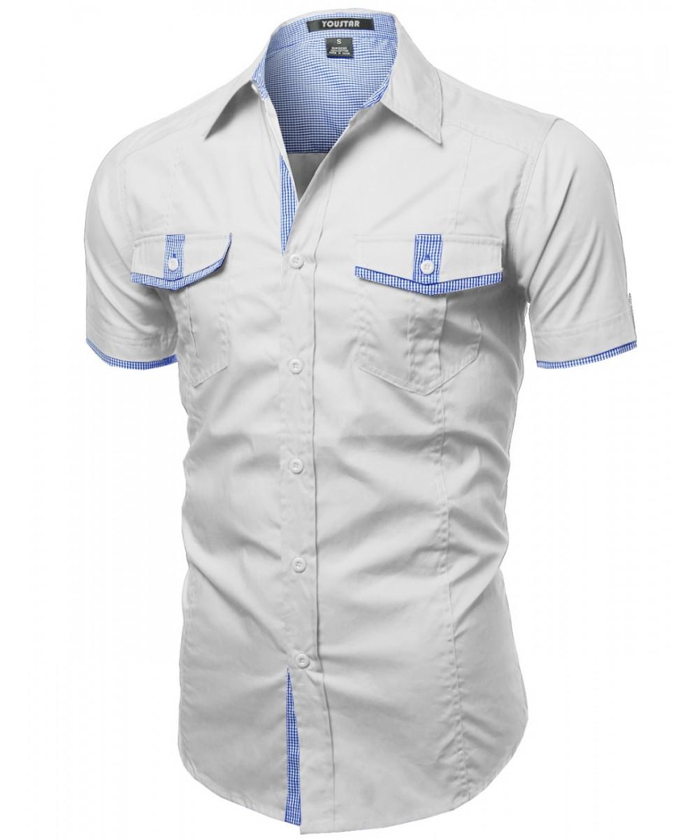 Men's Casual Cotton Short Sleeve Pockets Buttondown Tee Shirt Top ...