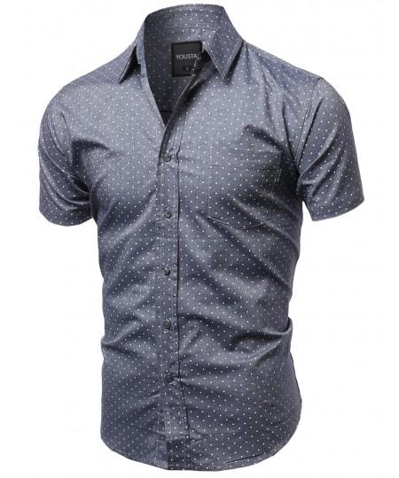 Men's Small Polka Dot Button Down Short Sleeves Shirt