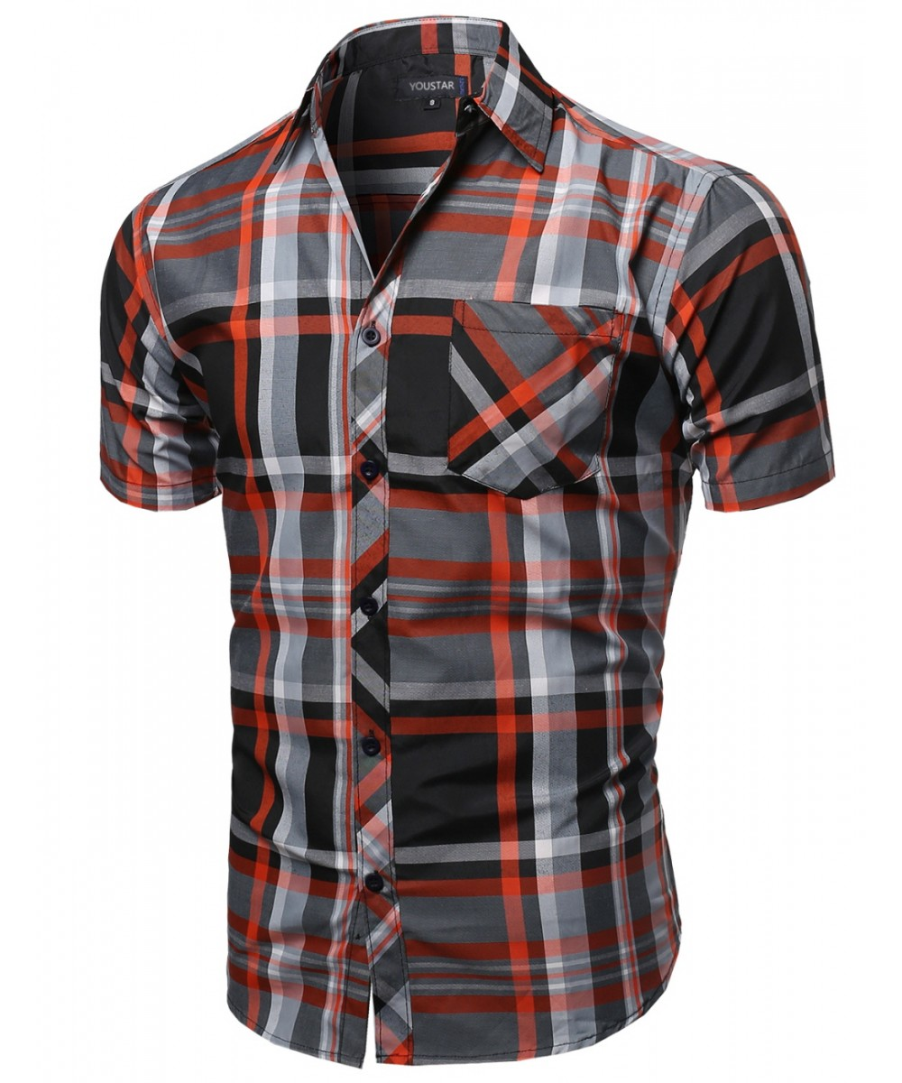 Men 39 s casual short sleeve collar buttondown checkered Short sleeve plaid shirts