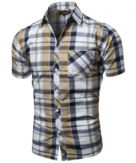 Men's Casual Short Sleeve Buttondown Checkered Plaid Shirts