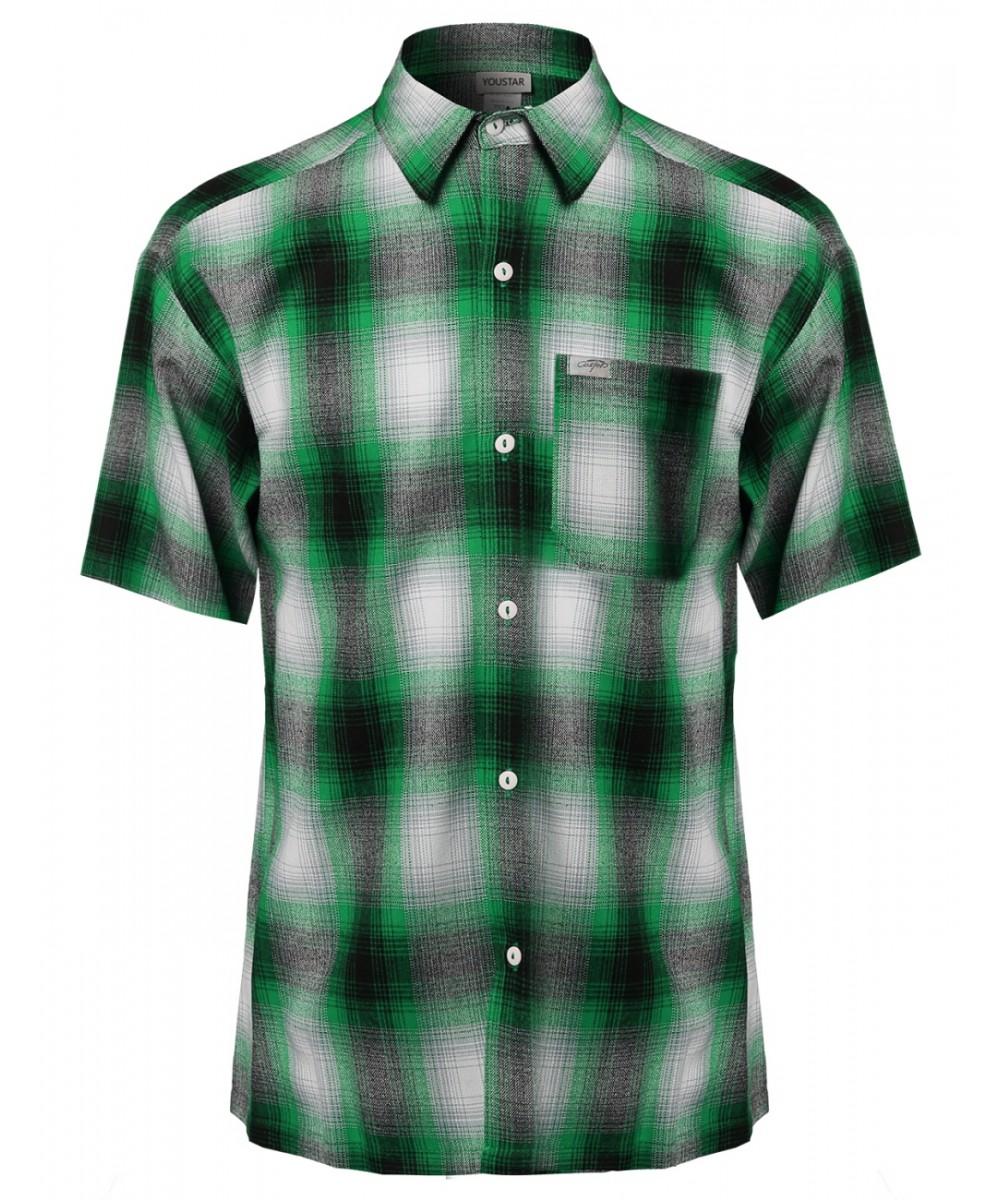 Men 39 s short sleeve casual plaid buttondown shirt for Short sleeve casual shirt