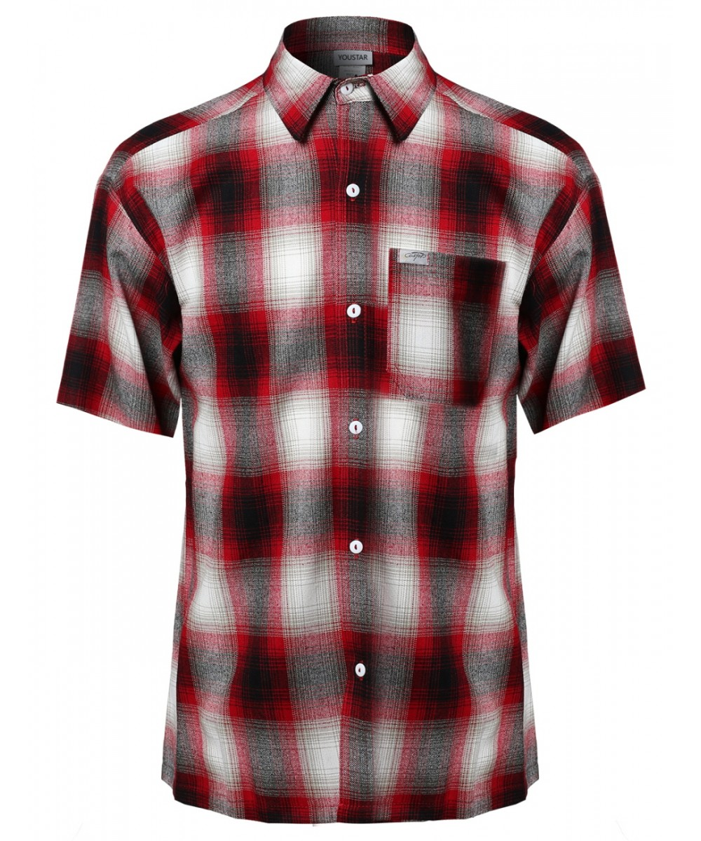 Men 39 s short sleeve casual plaid buttondown shirt Short sleeve plaid shirts