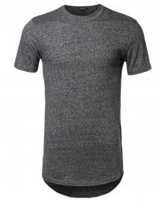 Men's Short Sleeve High Low Curved Hem Side Zipper Shirt