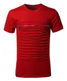 Men's Short Sleeve Cut out Zipper Shirt