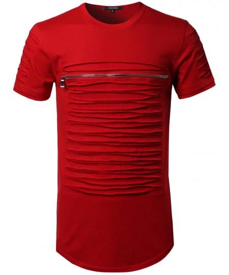 Men's Cut Out Unique Design Front Zipper Short Sleeves Tee Shirt