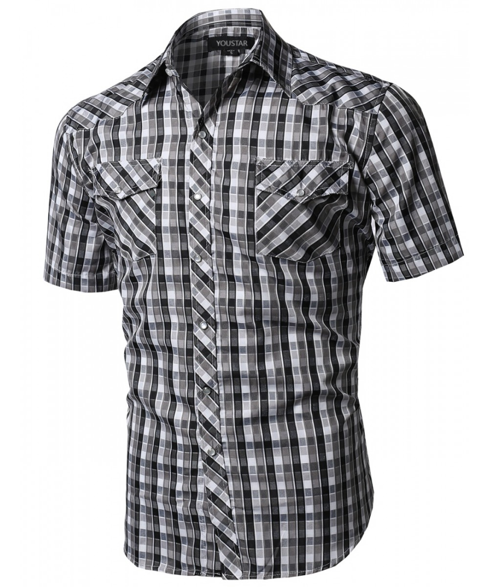 Men's Western Casual Button Down Plaid Check Short Sleeve Shirt ...