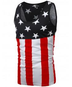 Men's American Flag Patriotic Sleeveless Tank Tops