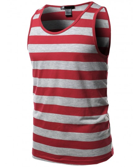 Men's Basic Stripe Round Neck Tank Tops