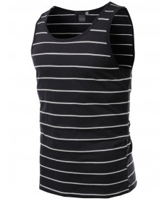 Men's Basic Round Neck Stripe Tank Tops