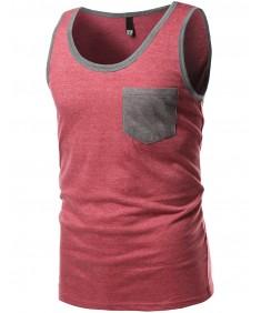 Men's Contrast Colorblock Round Neck Tank Tops