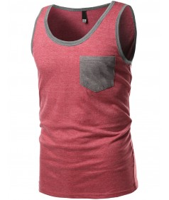 Men's Contrast Colorblock Round Neck Tank Tops