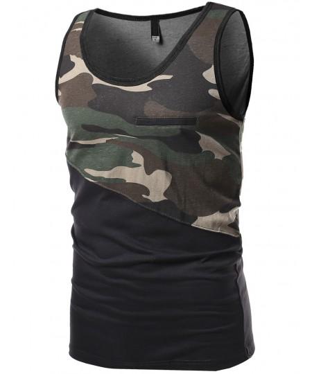 Men's Asymmetrical Color-Block Contrast Tank Tops