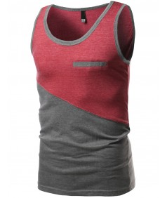 Men's Asymmetrical Color-Block Contrast Tank Tops