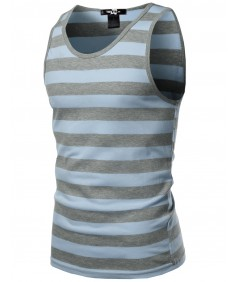 Men's Basic Round Neck Neon Color Wide Stripe Tank Tops