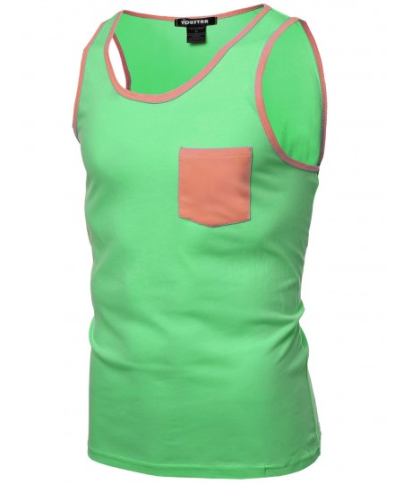 Men's Neon Color Contrast Pocket Round Neck Tank Tops