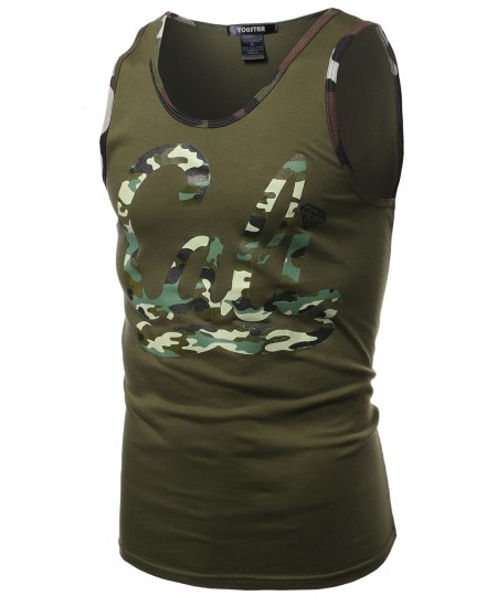 Men's Cali Camo Moustache Printed Sleeveless Tank Tops