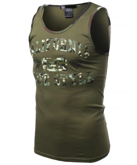 Men's Ca California Camo Printed Sleeveless Tank Tops