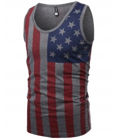 Men's American Flag Patriotic Sleeveless Tank Top