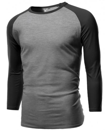 Men's Sporty 3/4 Contrast Sleeve Raglan Roundneck Baseball T-Shirts