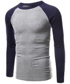 Men's Long Sleeve Raglan Roundneck Baseball T-Shirt Tops