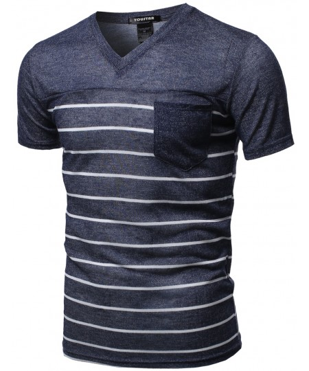 Men's Basic Striped V Neck Pocket Short Sleeve Tops