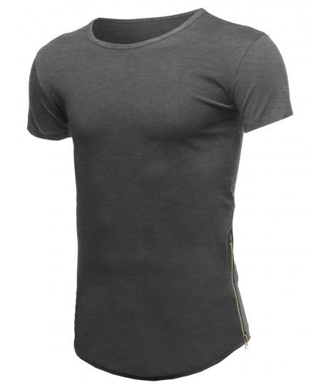 Men's Casual Longlie Side Slit With Zipper Tshirt Tee