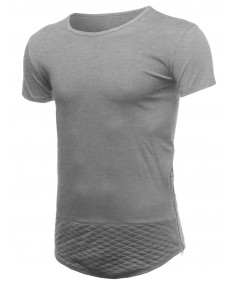 Men's Casual Longlie Side Slit With Zipper Tshirt Tee