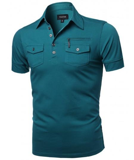 Men's Solid Short Sleeves Five Button Placket Zipper Chest Polo Shirt