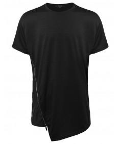 Men's Short Sleeve Asymetric Zipped T-shirt
