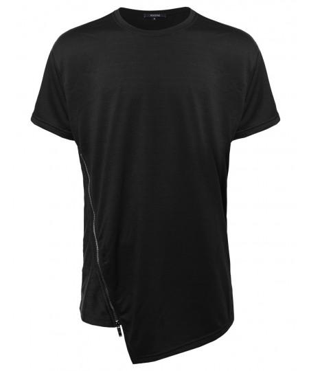 Men's Solid Asymmetric Zipper Side Front Short Sleeves Tee Shirt
