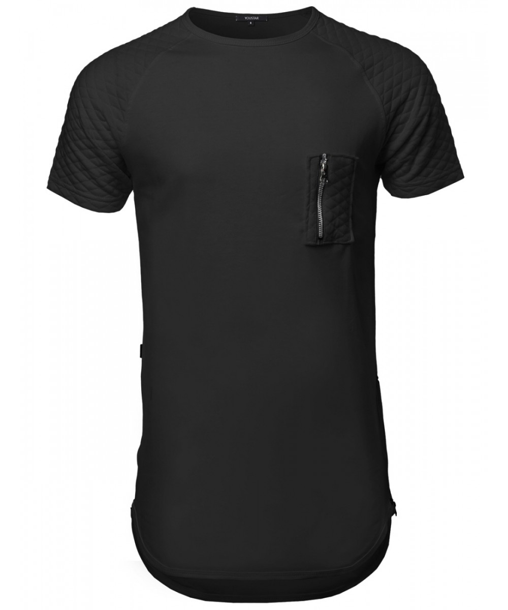 Black quilted t shirt - Men S Short Sleeve Quilted Pocket T Shirts