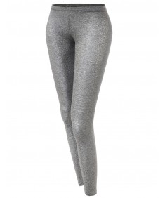 Women's Basic Glittery Metallic Leggings