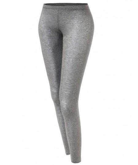 Women's Basic Glittery Metallic Leggings