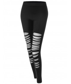 Women's Cutout Distressed Mesh Leggings