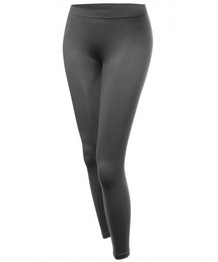 Women's Basic Solid Seamless Ankle Leggings