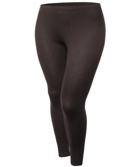 Women's Cotton Spandex Full Length Good Strechy Plus Size Legging