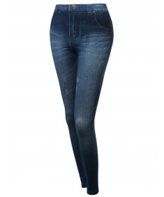 Women's Highrise Denim Printed Good Strechy Legging In Blue Or Black